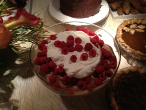 This raspberry mocha trifle was an annual favorite of Paul. I serve it along with a dozen or more options for a staff party that I call 'Just Desserts.'