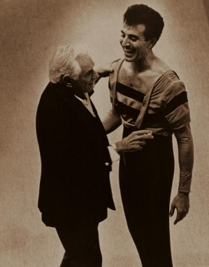 Paul being congratulated by Mr. Bernstein while in costume for a ballet choreographed by Beth Berdes